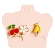 [Fruits] Ear Clips Ear Studs No Ear Hole Need One Pair for Kids/Adults 3 PCS