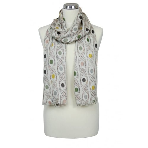 Ladies' Cream Peacock Scarf | Swirl & Polka Dot Print Scarf