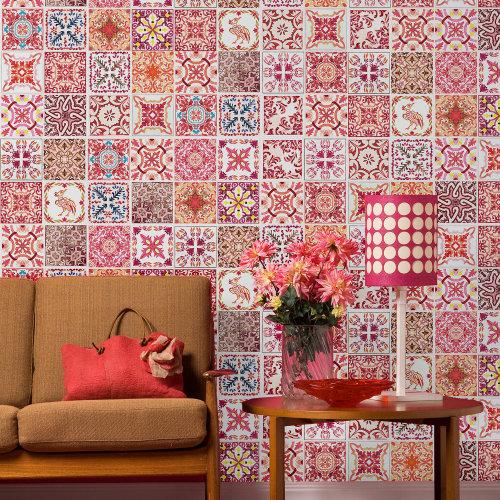 Walplus Tile Sticker Moroccan Rose Red Mosaic Wall Sticker Decal (Size: 20m x 20cm @ 12pcs)
