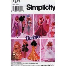 SIMPLICITY 8157 BARBIE PATTERN ~ EVENING WARDROBE FOR BARBIE DOLL by Simplicity