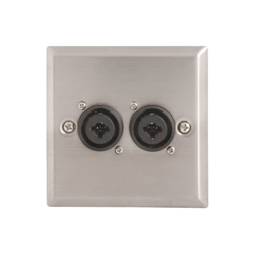 Steel AV Wallplate with 2 x XLR/Jack Combo Connectors