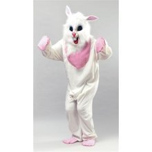 White & Pink Adult's Bunny Costume -  costume adult bunny rabbit fancy dress easter outfit white budget animal