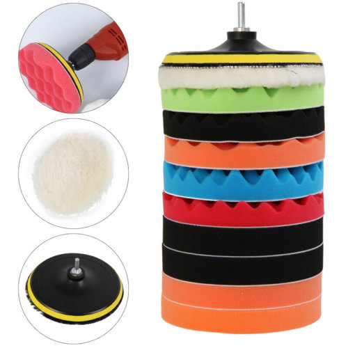"11Pcs 7"" Inch 180mm Waffle Sponge Buffer Polishing Pad Kit For Car Polisher New"