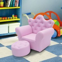 Homcom Children's Pink Princess Armchair & Footstool Set