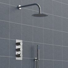 Concealed 3 Dial Thermostatic Shower, Wall Mounted Round Head & Handheld