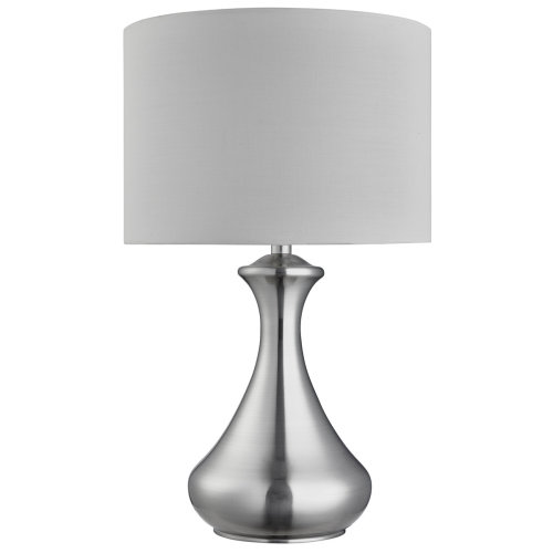 Touch Lamp In Satin Silver Featuring White Shade