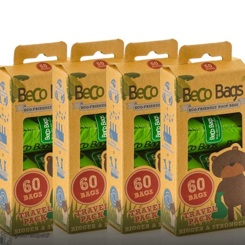 Beco Eco Friendly Degradable Extra Thick Dog Poop Bags 60 Travel Pack x 4