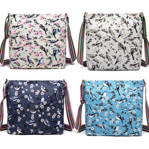 Miss Lulu Girls School Bags Women Messenger Bag Bird Flower Canvas Shoulder Satchel