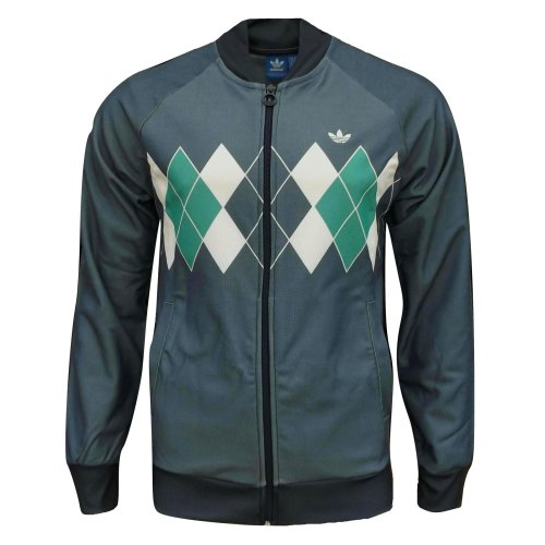 adidas Originals Men's Argyle Golf Track Top Jacket Indigo