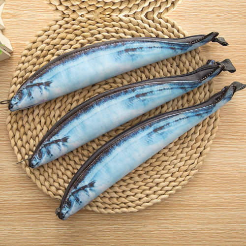 Creative Salted Fish Saury Seafood Pencil Cases School Bag