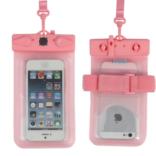 """5.5""""*3.7""""PINK Waterproof Underwater Swimming Diving Dry Bag Pouch With Whistle"""