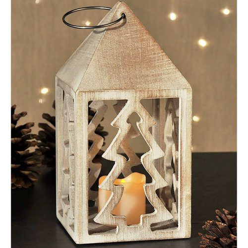 Wooden Hanging Lantern with Warm White LED Flickering Candle