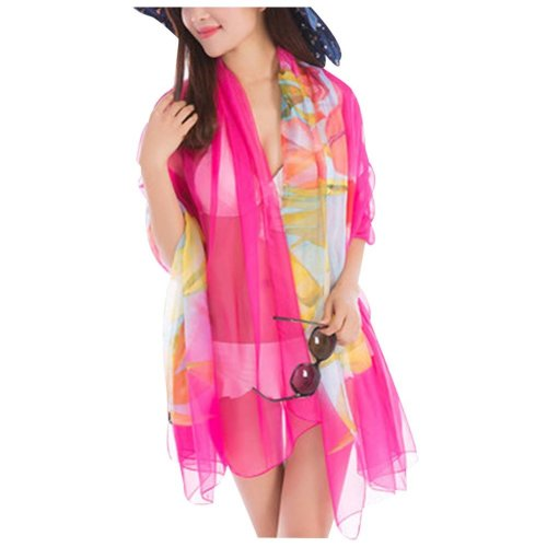 Elegant Chiffon Fabric Beach Towel Shawl Uv-blocking Silk Scarves