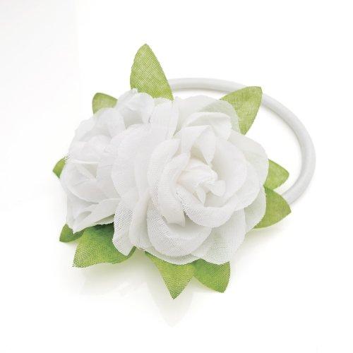 White Flower Posy PONYTAIL elastic