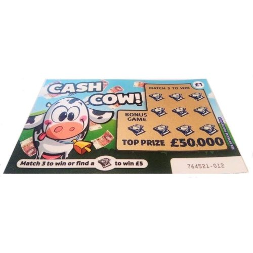 1 x Cash Cow Fake Joke Scratch Card