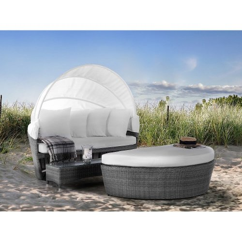 Grey Rattan Garden Day Bed SYLT LUX