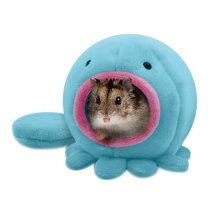 Cute Soft Pet House with Bed Mat Winter Warm Plush Hanging Cage for Hamster BLUE