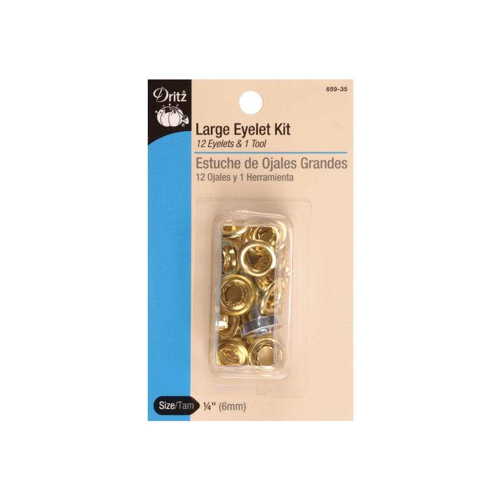 Dritz 33575-35 Large Eyelets Gilt 1//4-Inch 15-Count