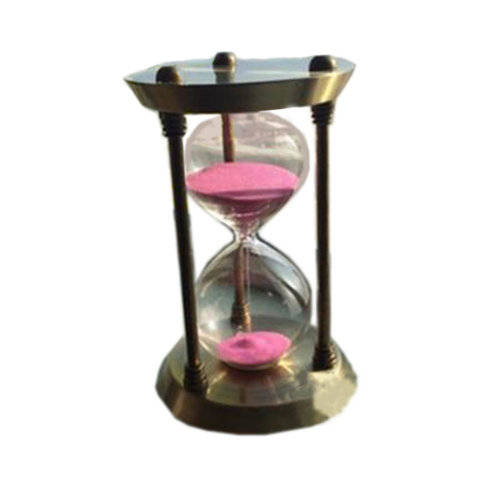 Simple Metal Sand Timer Hourglass Sandglass Creative Ornament Gifts, 15 Minutes + Golden Pink