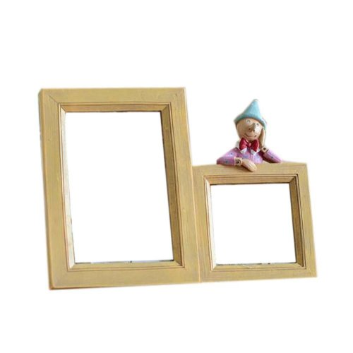 Double Hole Photo Frame Resin Photoframe and Home Decoration, Wood Color