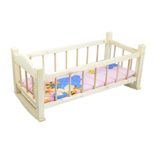 Children's Wooden Toy Pine Rocking Bed For Dolls Large with Mattress
