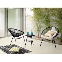Garden furniture - Patio Set - Outdoor Bistro Set - Table and 2 Chairs - Black - ACAPULCO