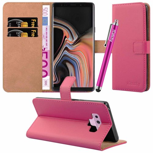 (Pink) For Galaxy Note 9 Leather Wallet Flip Case Cover