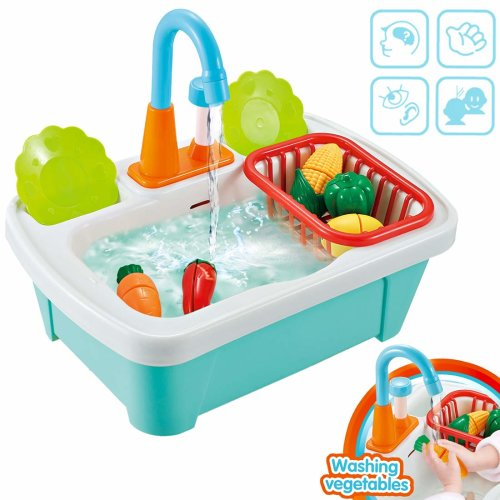 deAO 28pcs Pretend Wash-up Kitchen Sink Play Set Includes Cutting Toys, Kitchenware, Water Faucet & Drain– Great for Kids