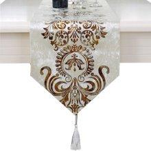 Minimalist Style Fashionable Velvet Gilding Decor Table Runner(13*71inch),White