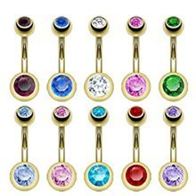 Double Press Fit Crystal Gold Plated Belly Bar Piercing