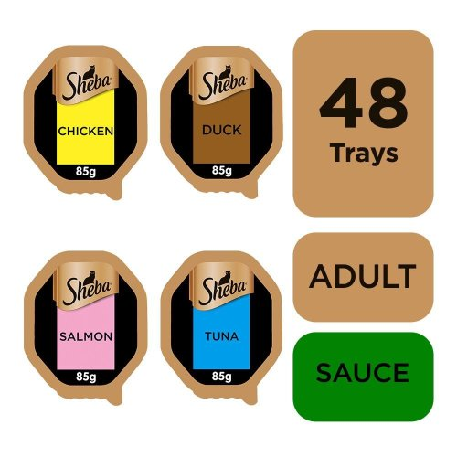 Sheba Sauce Lover Cat Trays Mixed Collection 12x85g (Pack of 4)