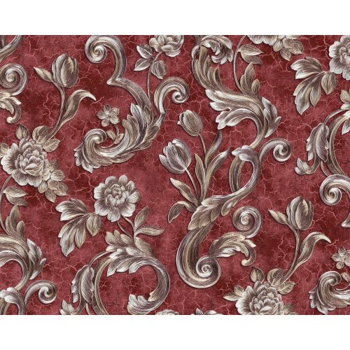 EDEM 9013-35 Flowers wallcovering with metallic highlights red wine red 10.65 m2