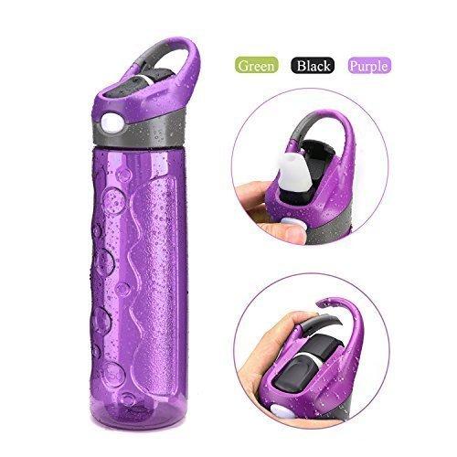 mountop Water Bottle with Straw Leak Proof Movable Buckle Button Start Direct-drinking Bottle 24oz (Purple)