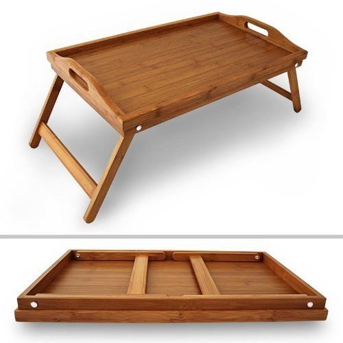Bamboo Folding Snack Table Breakfast Tray Lap Desk Over Bed Stool Stand
