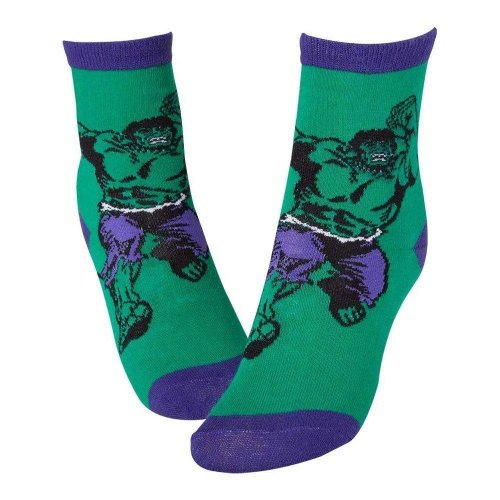 MARVEL COMICS Hulk Smash Crew Socks 39/42 - Green/Purple (CR115905MAR-39/42)