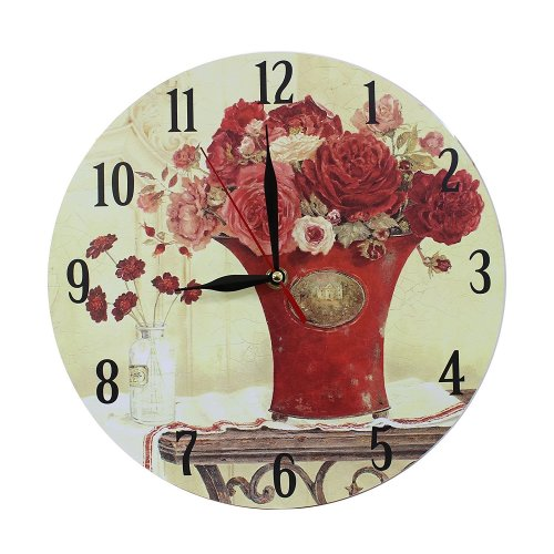 Obique Home Decoration Red Flowers in Vase Scene 28cm MDF Wall Clock