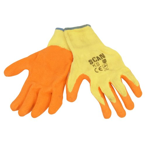 Scan Knit Shell Latex Palm Gloves Orange - Large (Size 9) (Pack 12)