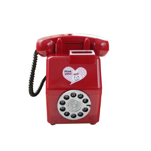 Nostalgic Phone Piggy Bank for Saving Money Coin Bank Home Decor Ornaments Red