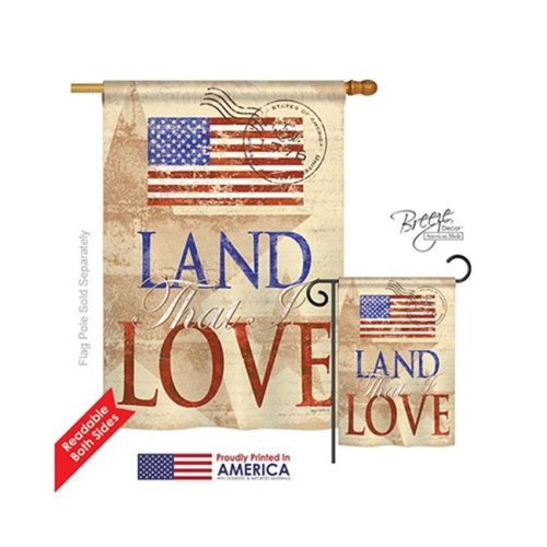 Breeze Decor 11054 Patriotic Land That I Love 2-Sided Vertical Impression House Flag - 28 x 40 in.