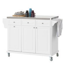 SoBuy® FKW33-W, Luxury Kitchen Trolley Kitchen Island with Stainless Steel Worktop