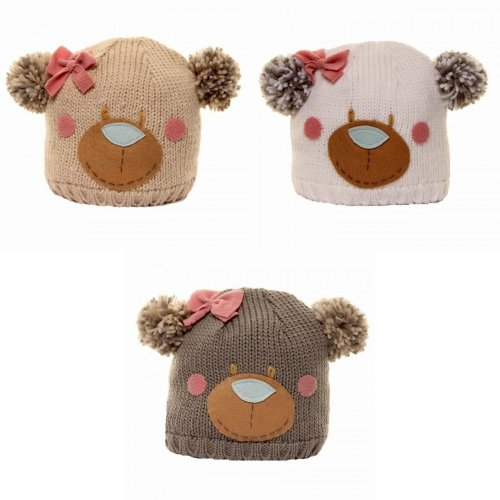 Childrens Girls Bear Design Knitted Winter Ski Hat