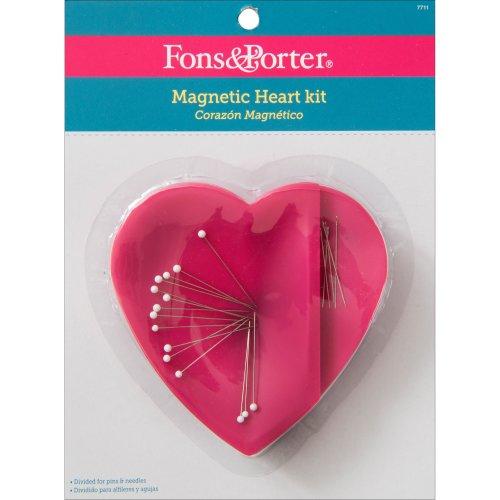 Fons & Porter Magnetic Heart Case-W/20 Pins & Needles