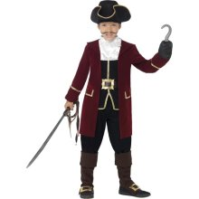 Smiffy's Deluxe Pirate Captain Costume, Jacket, Mock Waistcoat, Trousers, Neck -  pirate captain fancy dress costume boys deluxe hook book day child